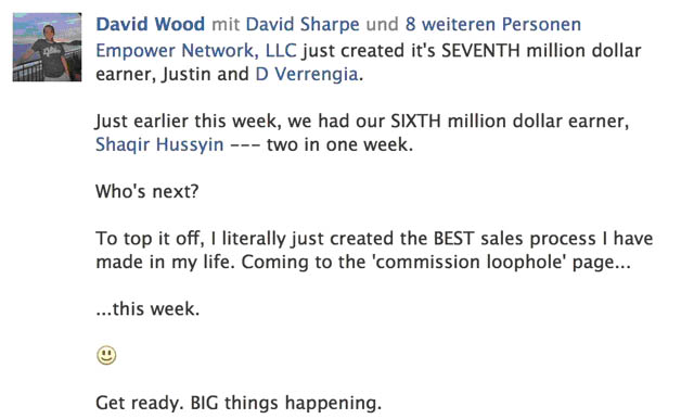 Empower Network - Facebook Post von David Sharp